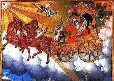 """Възнесението на св. пророк Илия и три сцени от живота му. Икона от 1850 г. от църквата """"Св. Димитър"""" в с. Тешево край Банско"""