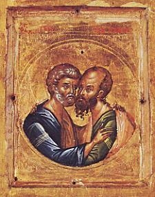 Hl. Peter und Paul / Schmuckikone Byzantinisch 14.Jhdt