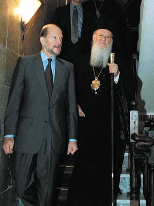 Premier Simeon and Patriarch Bartholomaios in Sofia, Bulgaria, Sept. 08 2001